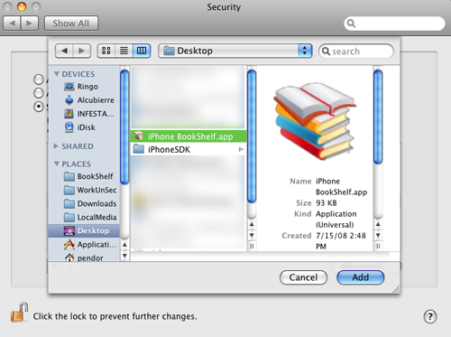 File selection dialog showing iPhone Tomes.app selected on the user's desktop